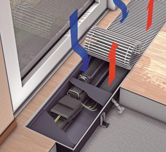 Схема работы внутрипольного конвектора отопления
