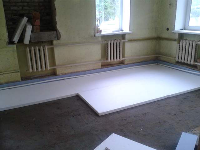 Утепление бетонного пола пенополистиролом