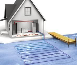 Схема расположения на дне водоемагеотермального отопления