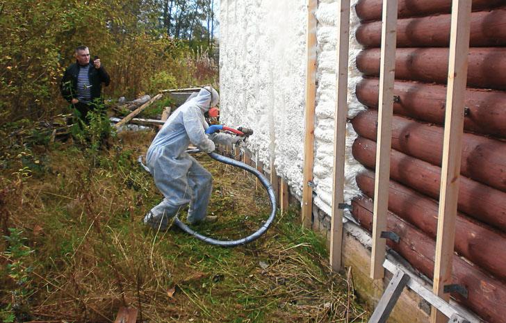 Утепление стен из бруса пенополиуретаном