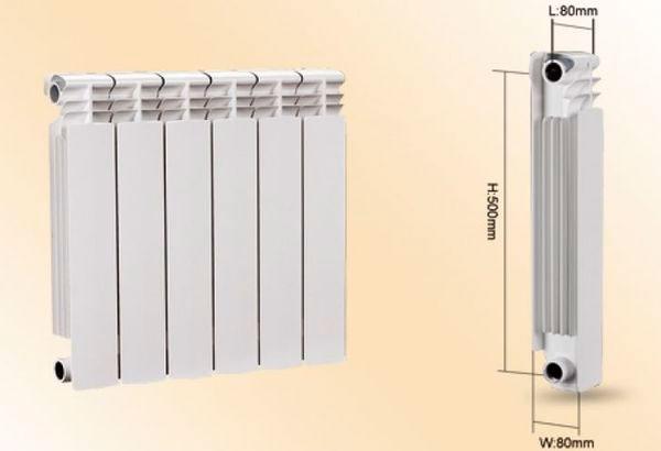 Размеры одной секции алюминиевого радиатора